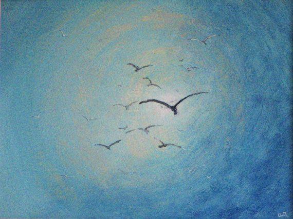 original acrylic on paper Seagull acrylic landscape ORIGINAL painting