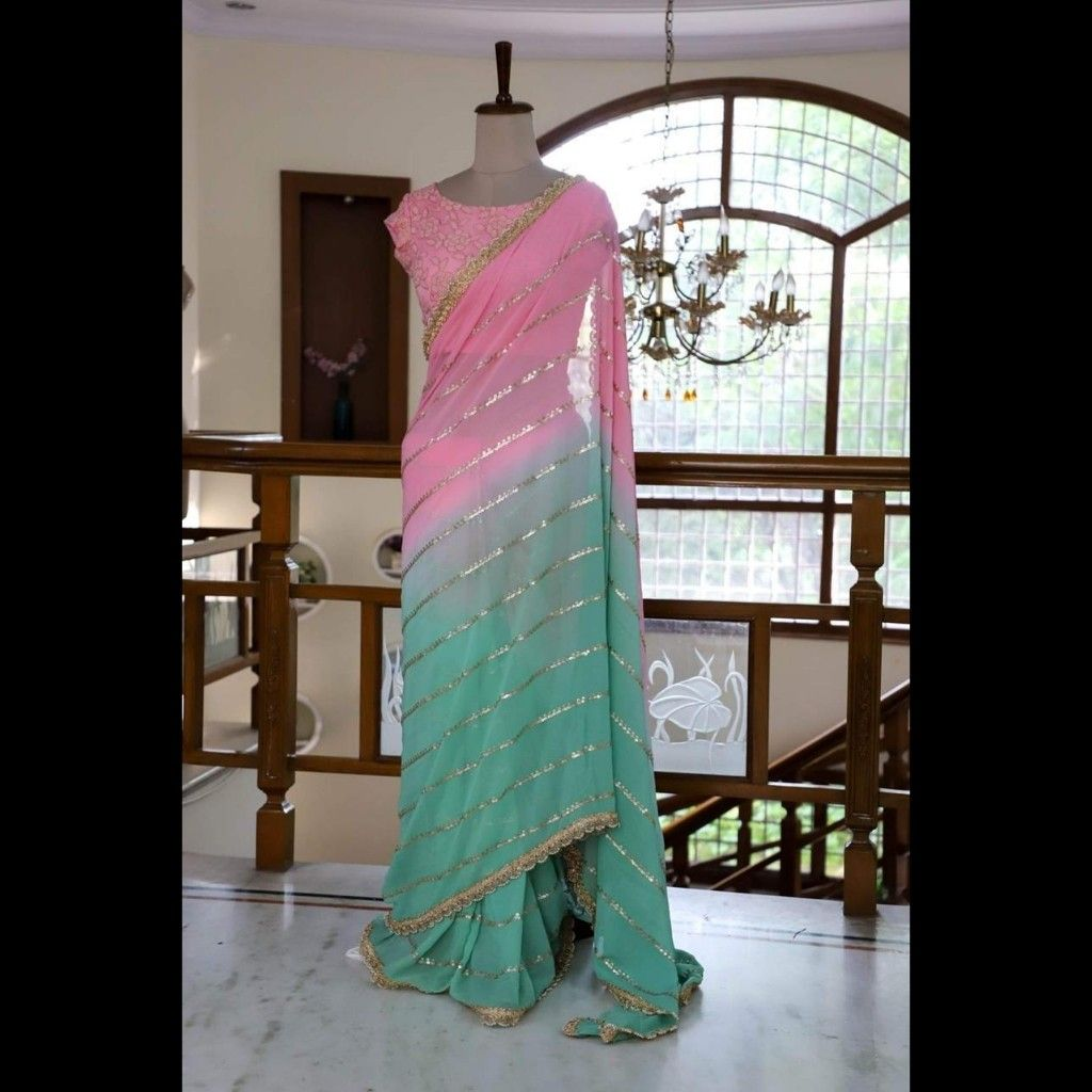 Soft Net Saree With Rainbow Sequence Butterfly Work All Over Saree Rimzim Heavy Blouse All Saree Fully Sequence Work