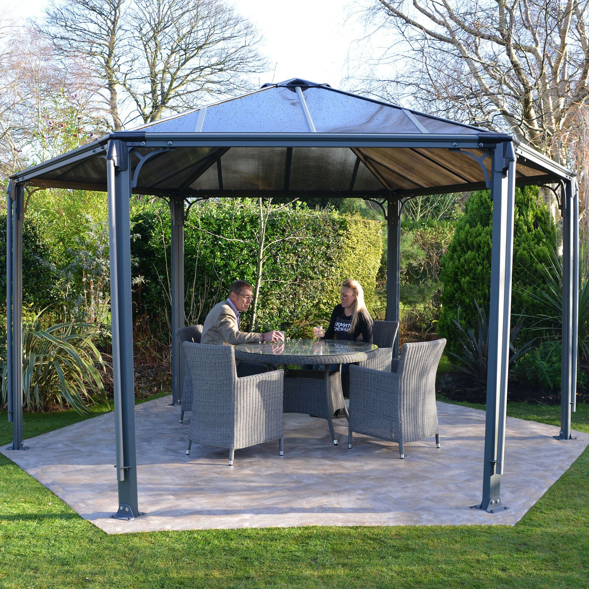 Monaco 13 Ft W X 15 Ft D Aluminum Patio Gazebo Patio Gazebo Outdoor Pergola Garden Gazebo