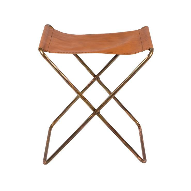 Nola Stool Leather From Broste Copenhagen In 2020 Stool Copper Stool Piano Stool