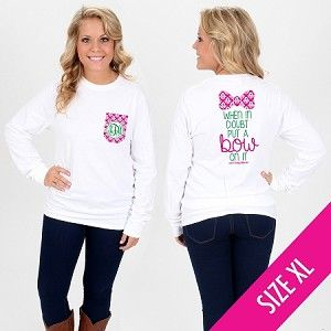 Monogrammed Ikat Put A Bow On It Long Sleeve Pocket T-Shirt - Size X-LARGE