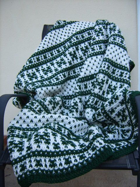 Fair Isle Crochet Afghan Blanket/Green and White Blanket/Handmade ...