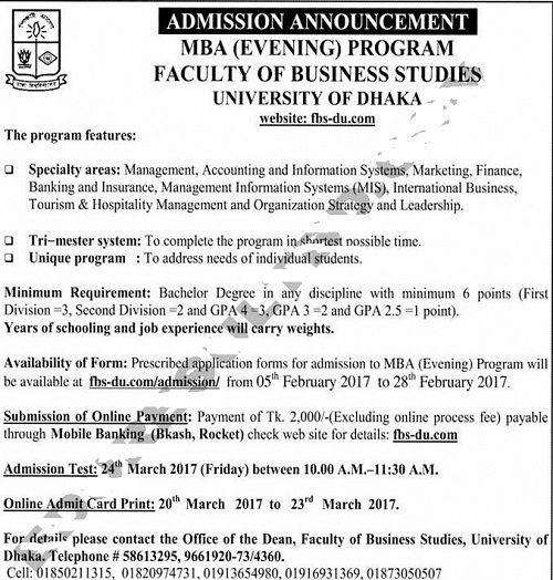 DU EMBA Admission Circular 2017 published DU EMBA Admission - admission form school