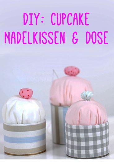 DIY: Süßes Cupcake Nadelkissen und Dose selber basteln mit Stoffresten. Perfekt als Geschenk für alle, die gerne Nähen! Anleitung auf www.gofeminin.de/schwangerschaft-video/cupcake-nadelkissen-video-n232731.html