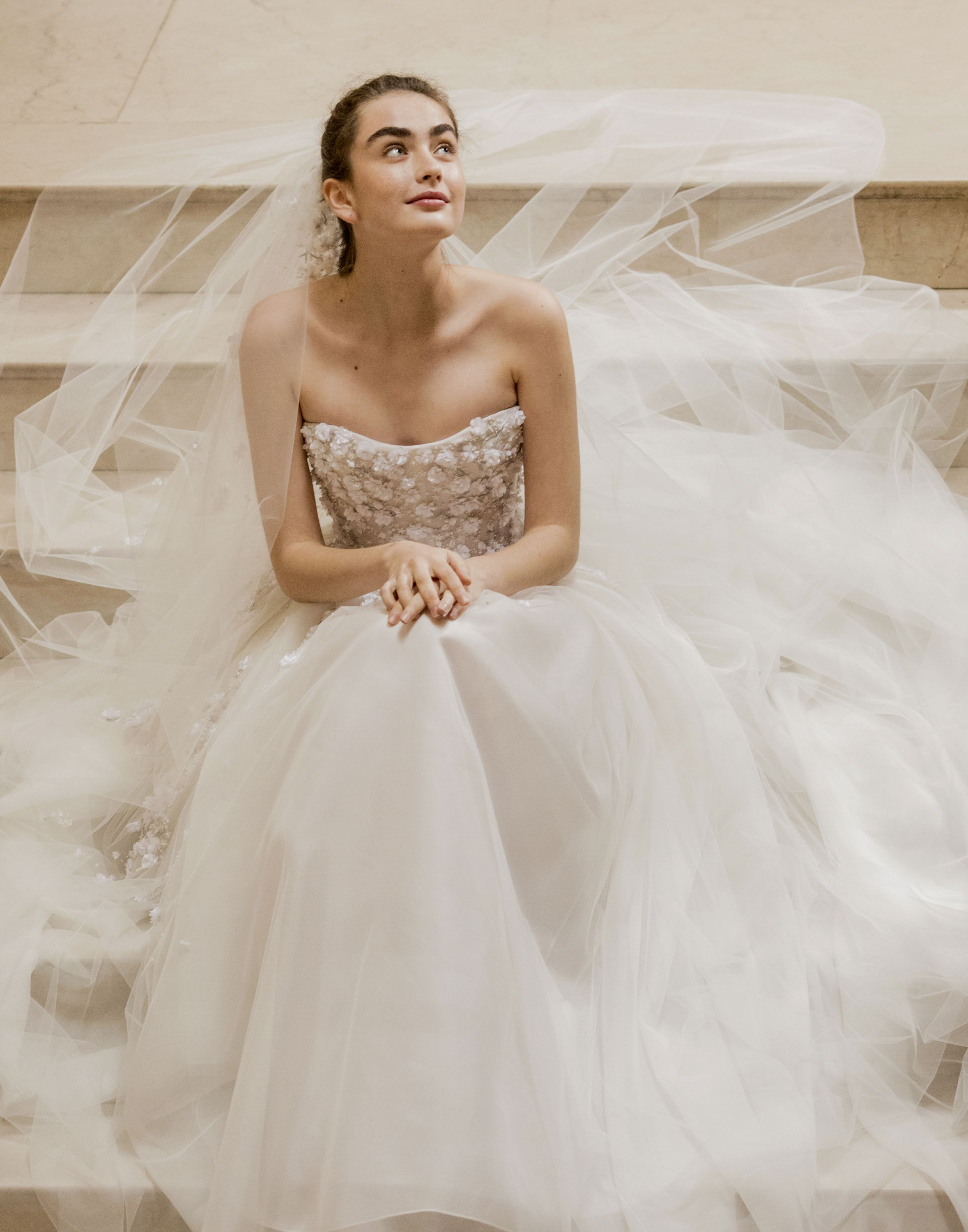 cd8c482decfc Strapless embellished Hadley gown with tulle skirt from the Carolina  Herrera Spring 2019 Bridal Collection. #CarolinaHerreraBride