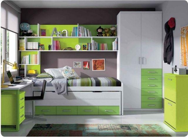 modernes kinderzimmer junge möbel weiß grün taupe wandfarbe | kleine ...