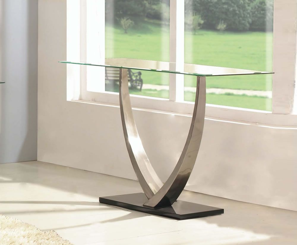 kitchen console table Piper Glass Console Table