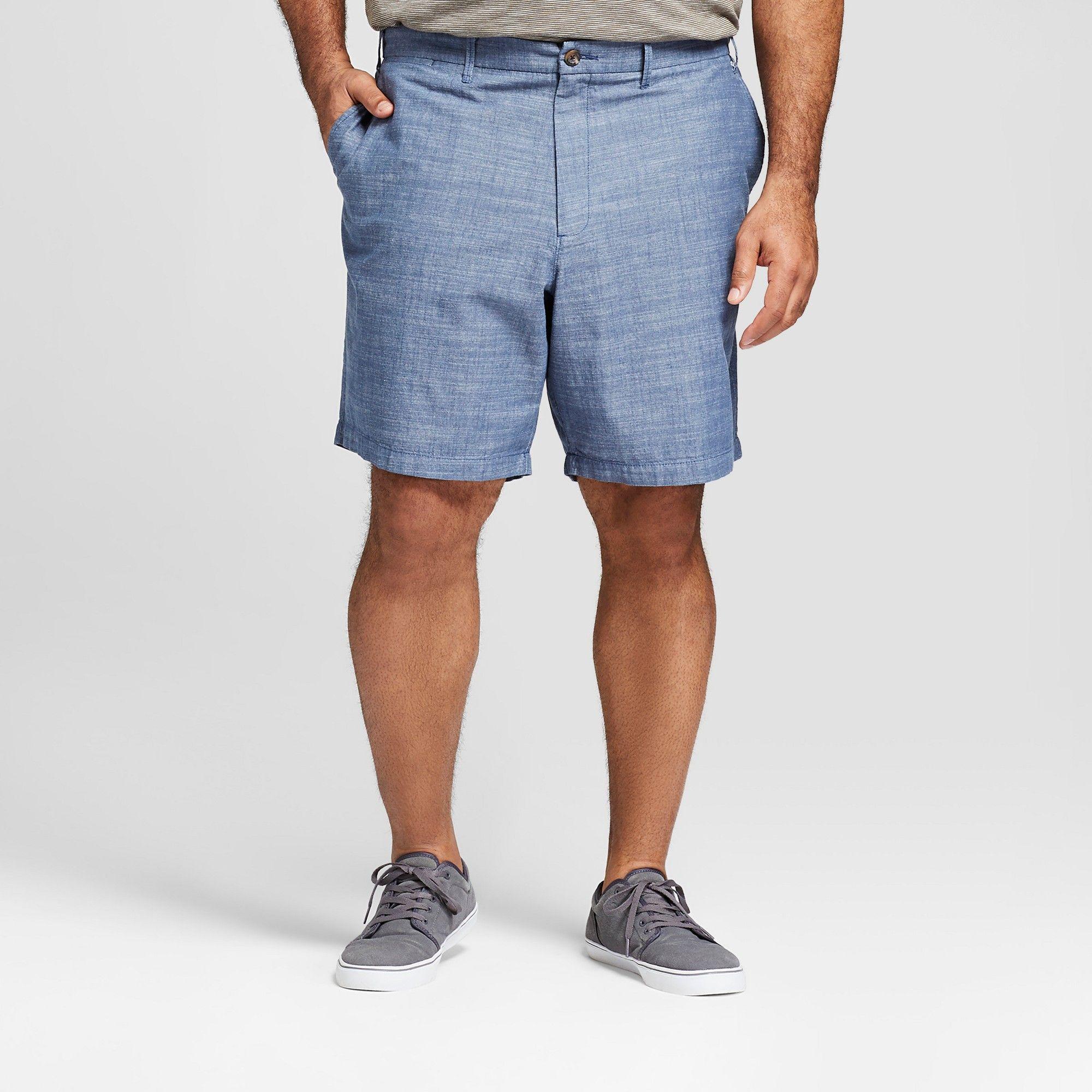 b40197a473 Men's Big & Tall 10.5 Chambray Linden Flat Front Shorts - Goodfellow & Co  Blue Chambray 60