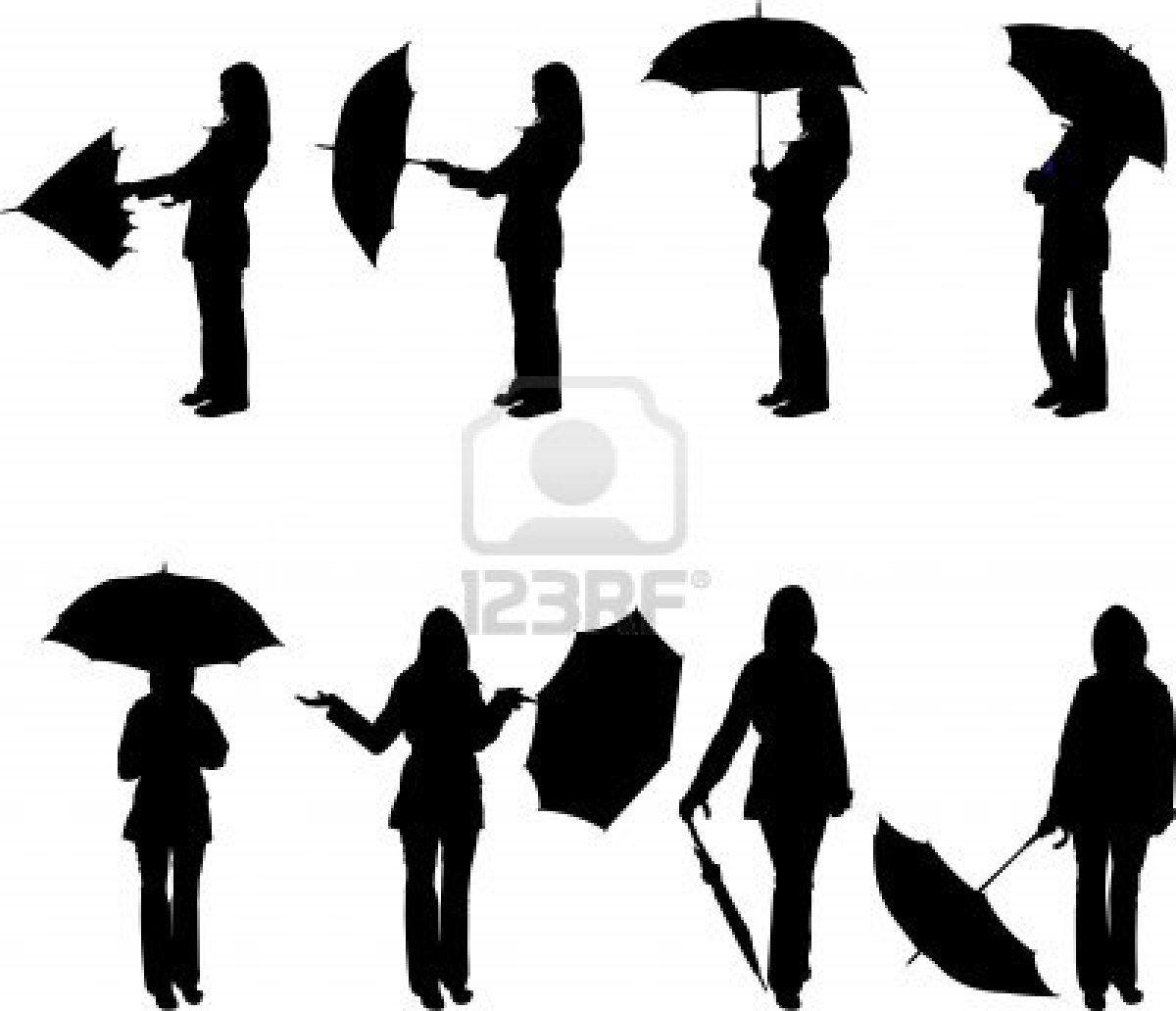 Frau mit Regenschirm in verschiedenen Posen silhouette
