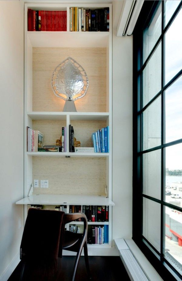 Built In Bookshelf With A Fold Down Desk