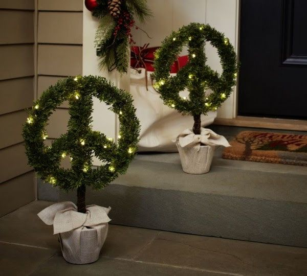 christmas boxwood peace topiary pottery barn christmas decorating ideas for outdoor settings - Peace Outdoor Christmas Decorations