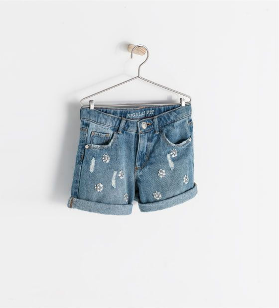 8d73049c51 ZARA - KIDS - DENIM BERMUDAS WITH APPLIQUE | Alessia's Style | Zara ...