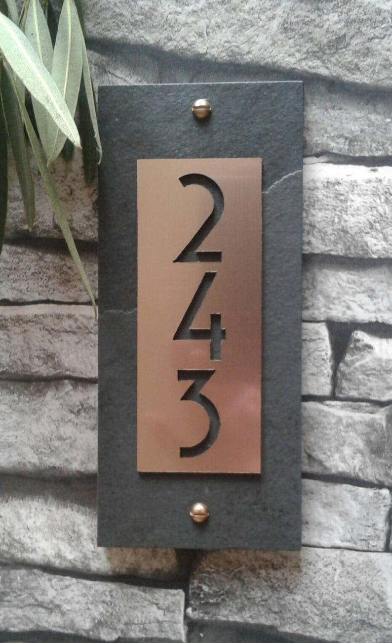 Mid Century Modern House Numbers Copper Vertical Address Etsy Craftsman House Numbers Modern House Numbers Sign Modern House Number