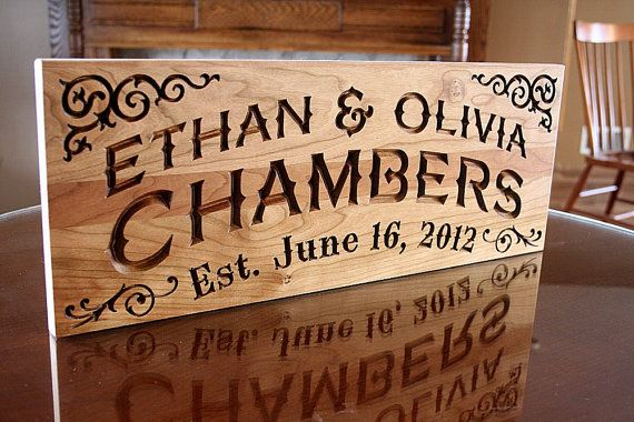 Irish name sign family carved wooden