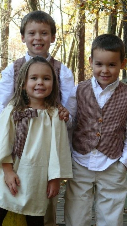 sibling outfit idea...boys in vests...Immie's dress with matching fabric?