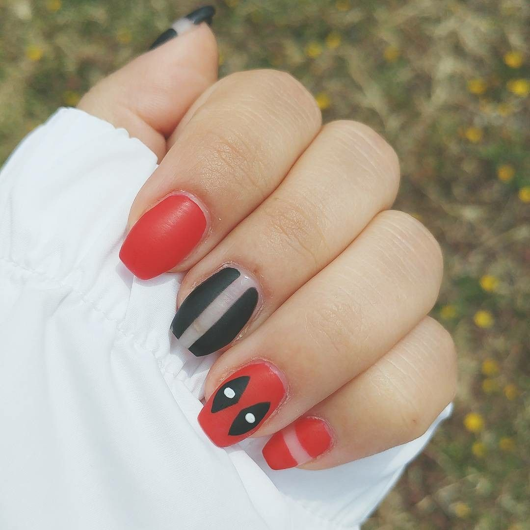 Deadpool nails with negative. Nailart by belissima funchal.   My ...