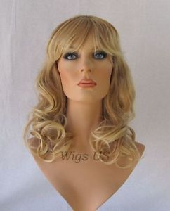 Long Wig HEAT OK Strawberry Pale Blonde Mix Curls Full Bangs Womens Wigs 094618d22