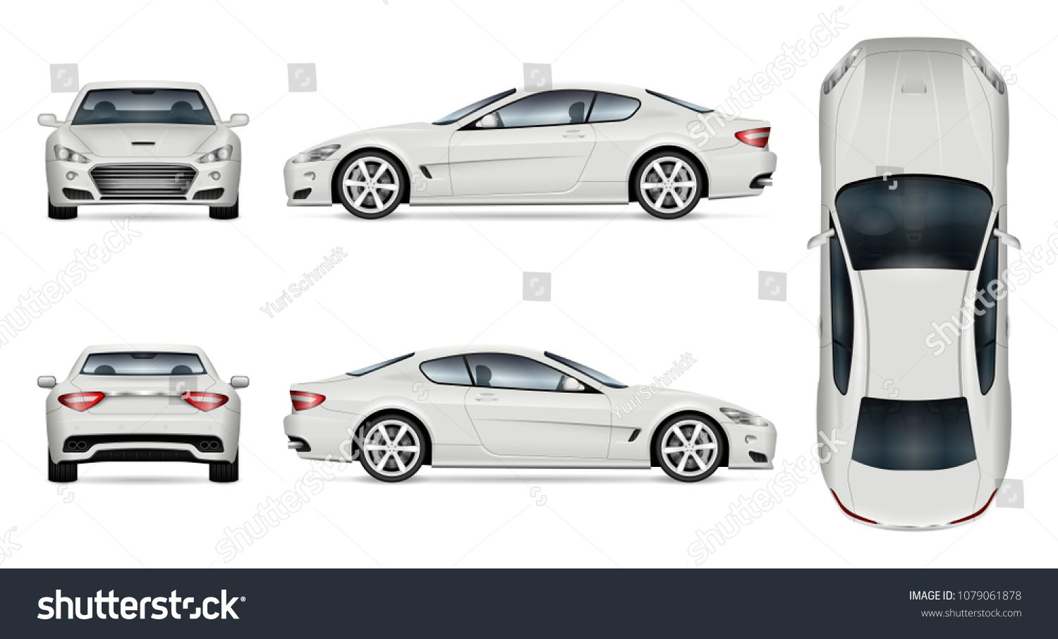 Car Vector Mock Up Isolated Template Of Supercar On White Background Vehicle Branding Mockup Side Front Back Top View A Car Vector Super Cars Car Brands