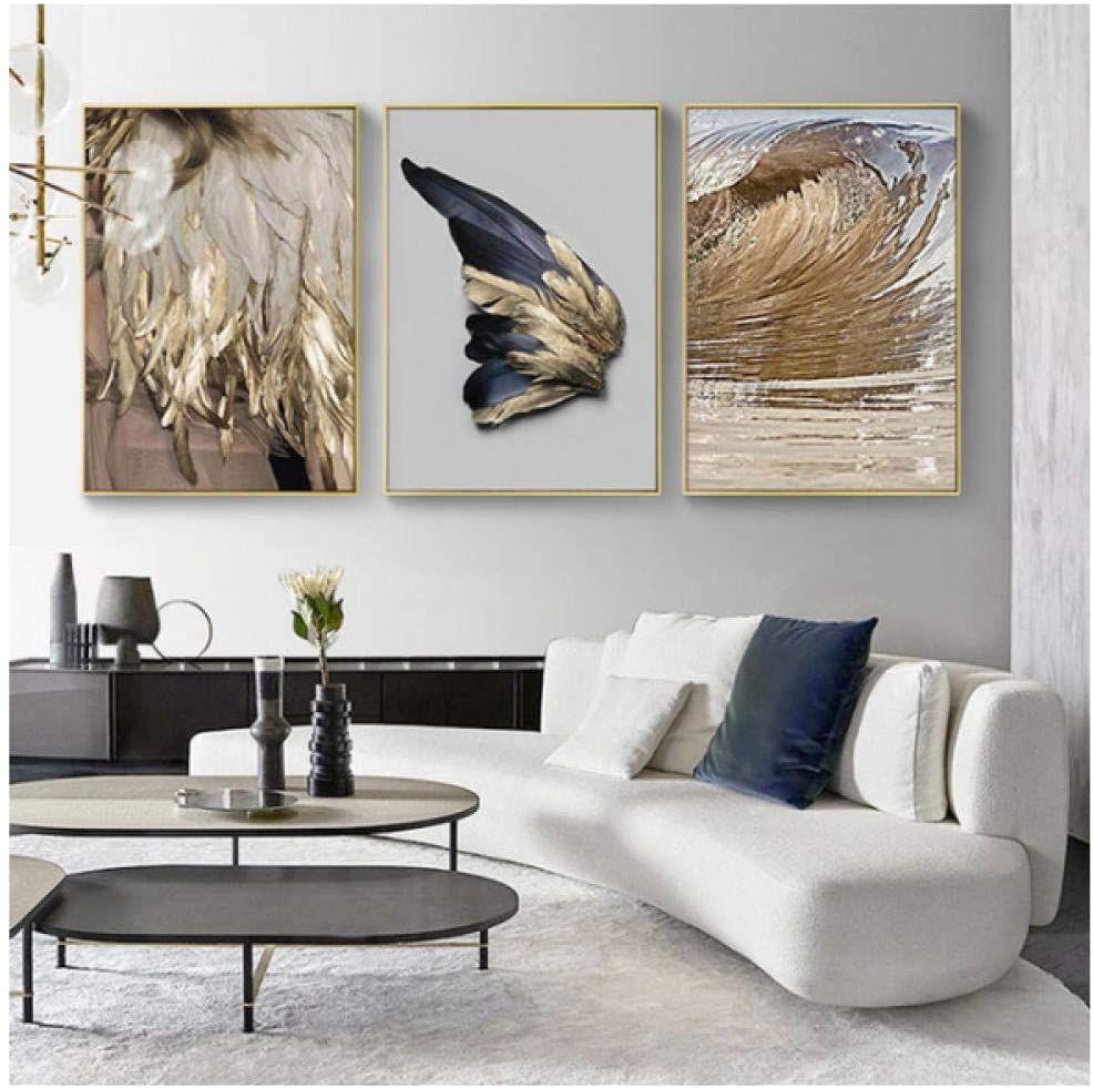 3 stücke Moderne Wohnzimmer Dekoration Gold Feder