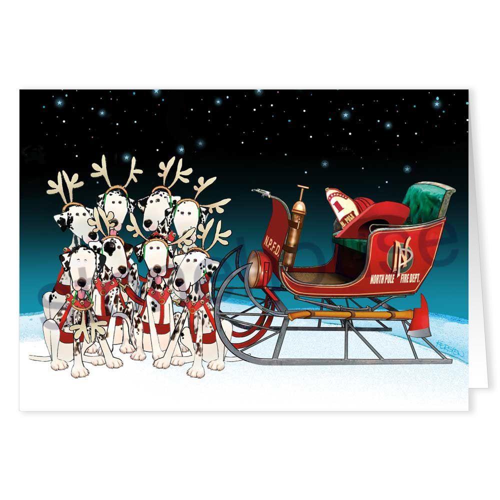Firefighter Dalmations - Christmas Card | random cute stuff ...