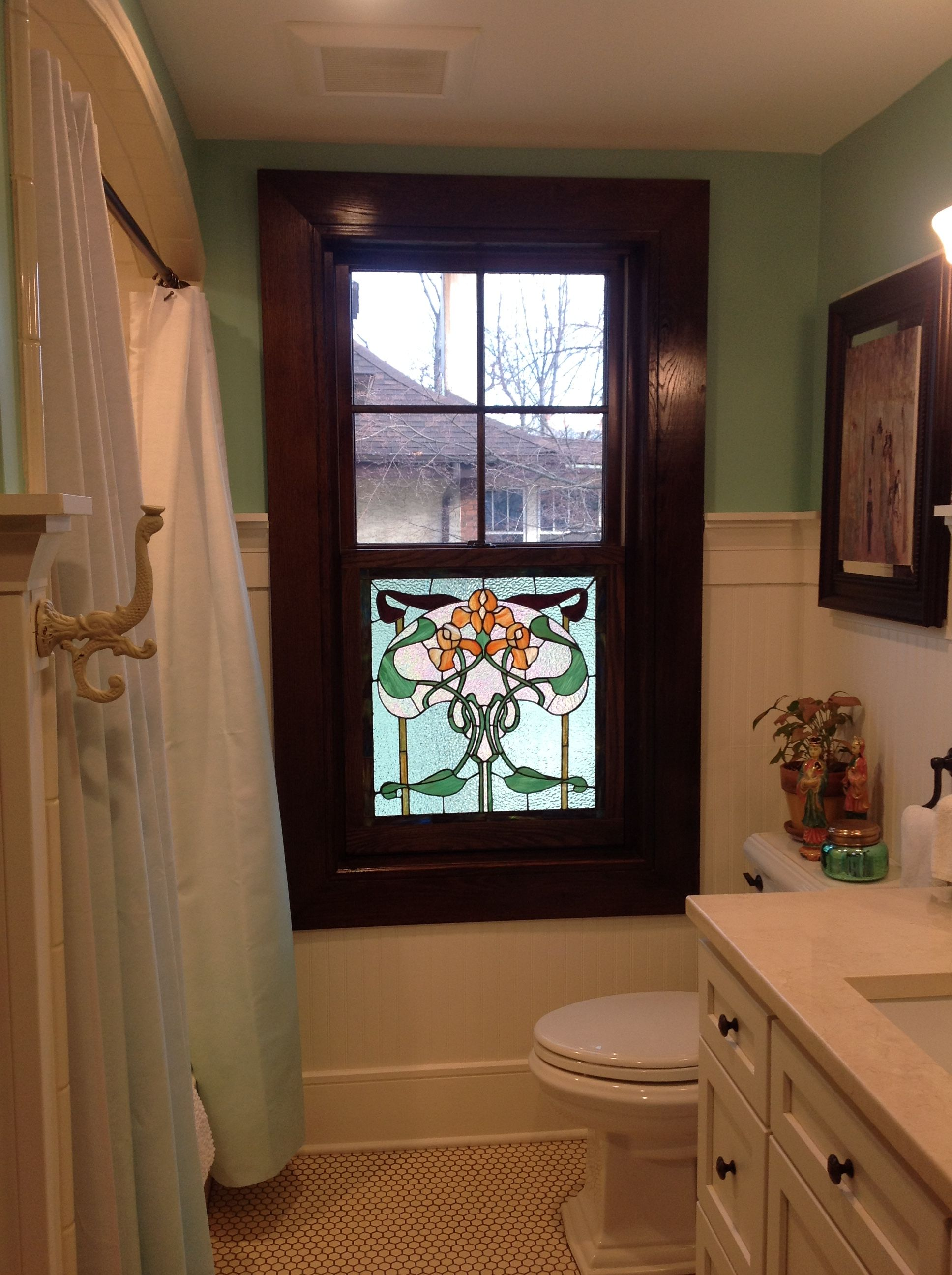 Another Shot Of The Stained Gl Privacy Window For Second Floor Bathroom Made With My Own Hands