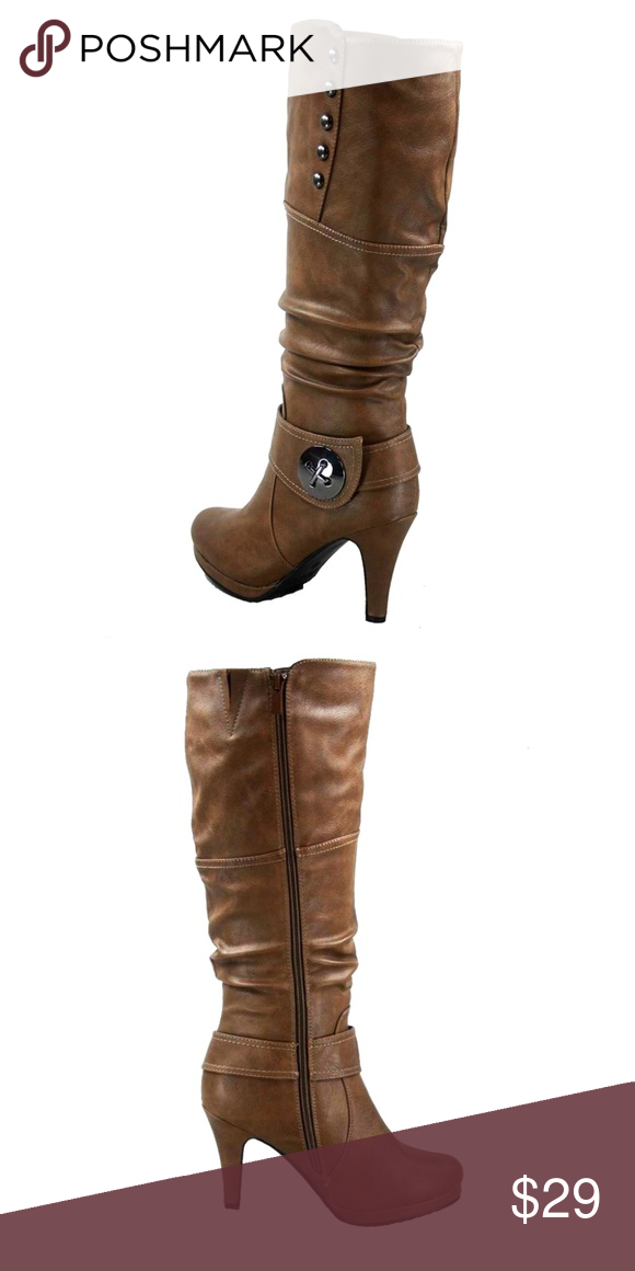 36ca5ee2c92 Womens Knee High Round Toe Slouched Boots COGNAC Top Moda Win-45 Women s  Fashion High