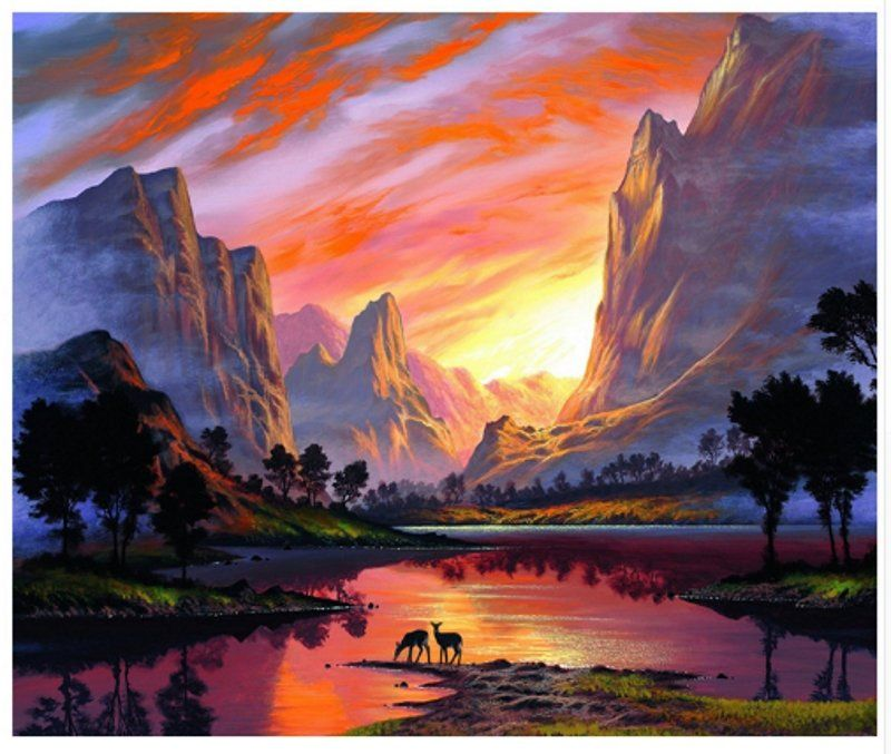 DIY Oil Painting By Numbers Landscape Handpainted Mountain Lake Modern Home Wall