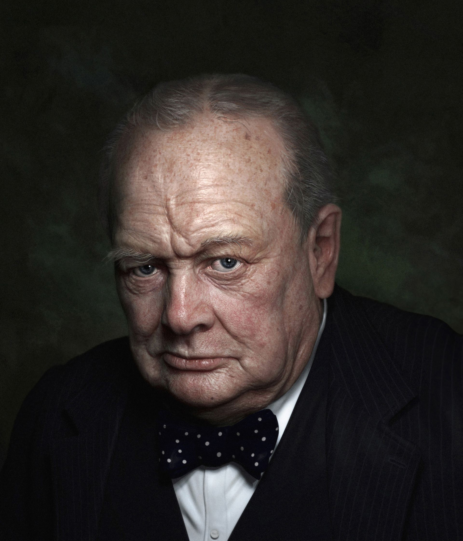 portrait of churchill 80th birthday