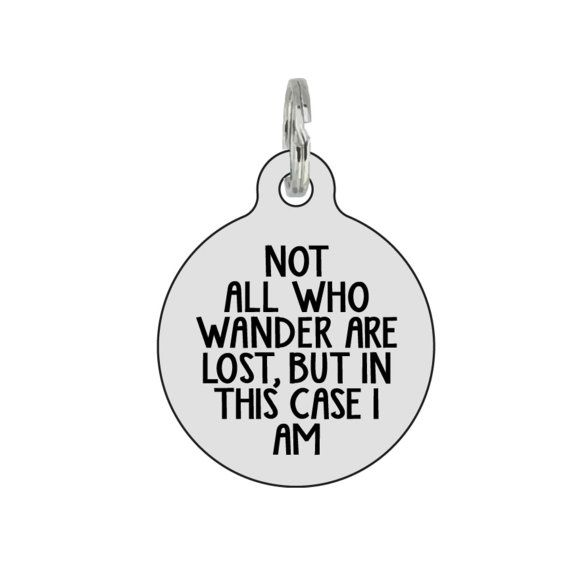 Wanderlust Silver Pet ID Tag for cats and dogs
