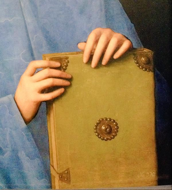 Detail of Portrait of a man with a book. Vincenzo Catena. ViennaKHM