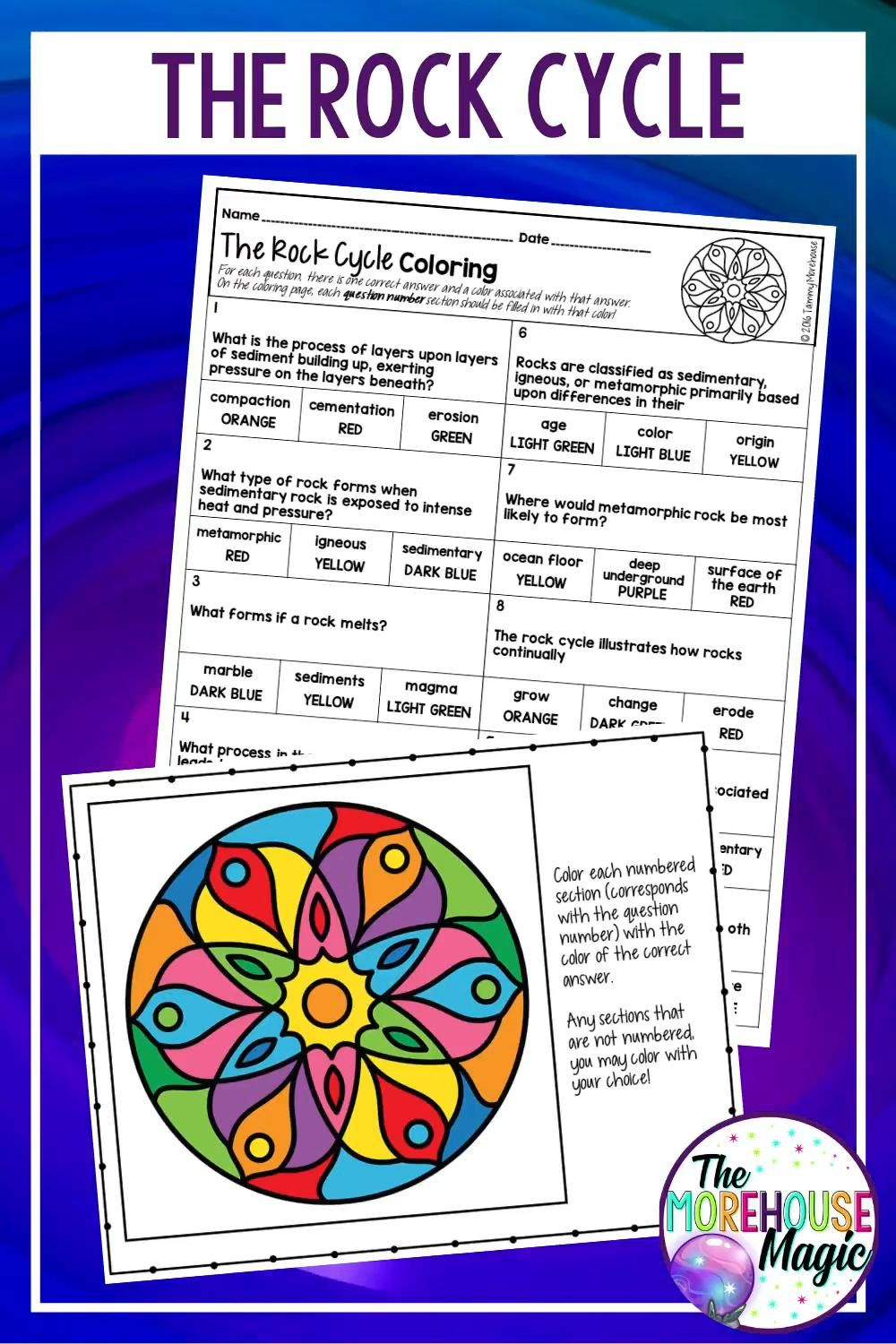 The Rock Cycle Science Color By Number Activity Video Rock Cycle Rock Cycle Activity Physical Science Middle School [ 1500 x 1000 Pixel ]