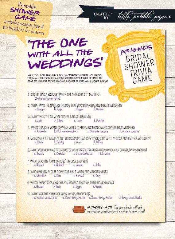 FRIENDS TV Show TRivia Bridal Shower Game Printable Trivia Quiz
