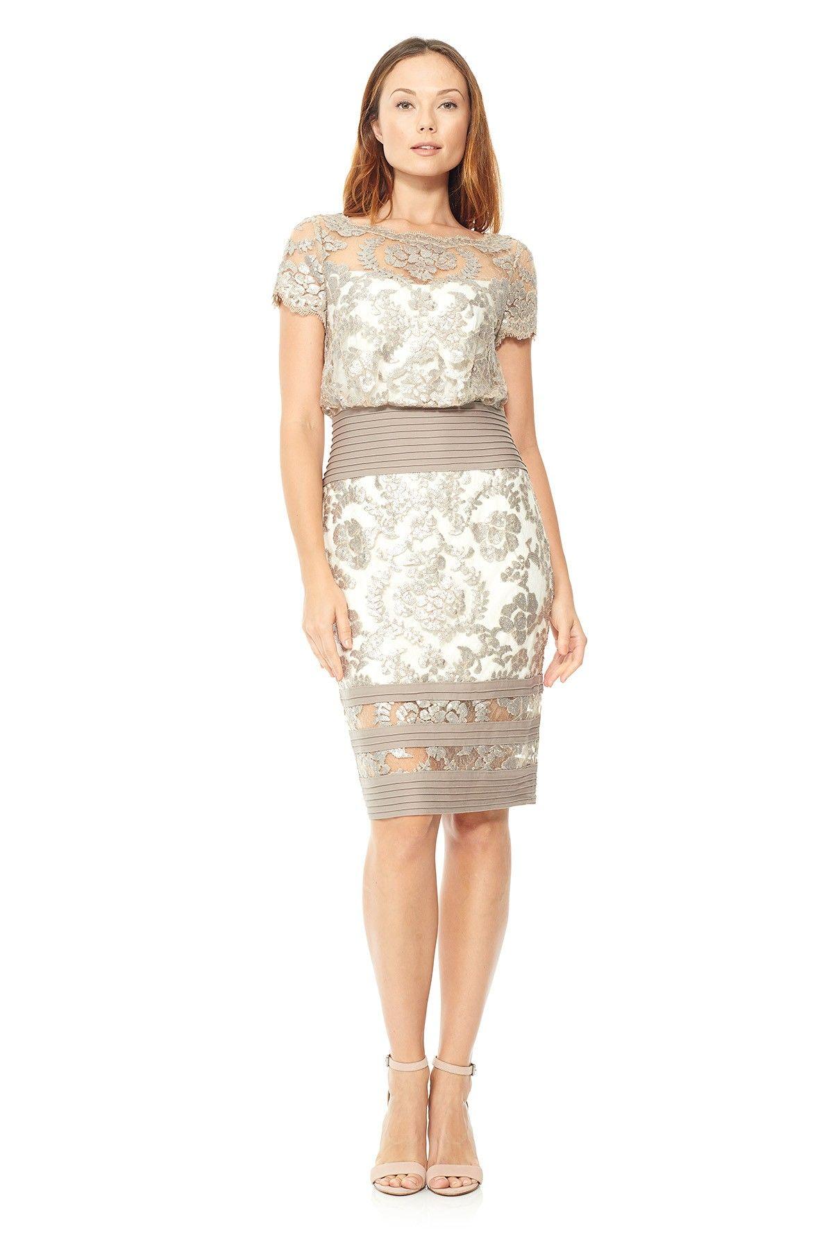 Tadashi Shoji - Blouson Waist Paillette Embroidered Lace Dress ...