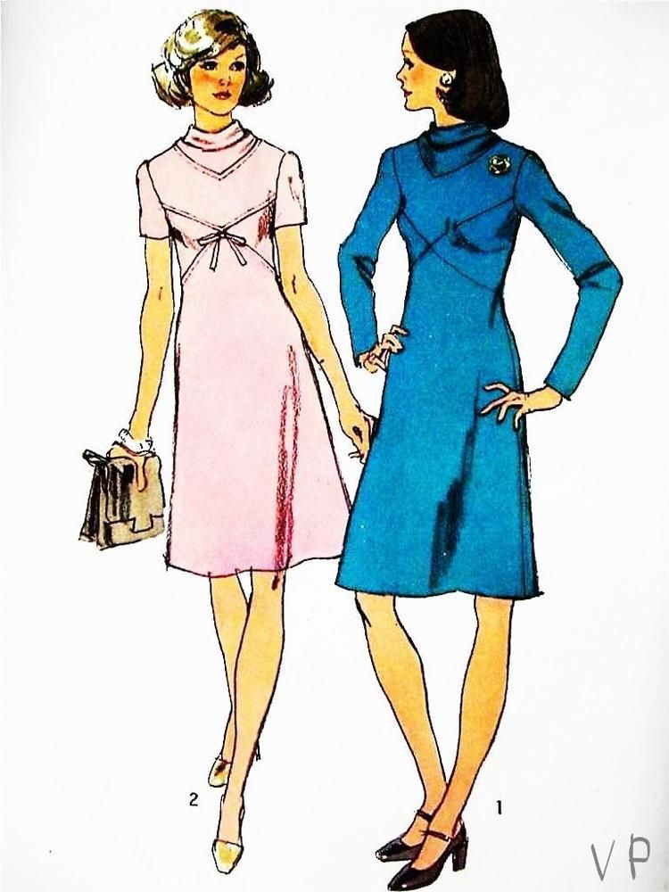 👗 Vtg 1970s Simplicity 5790 Cowl Neck Retro Dress Miss Sewing ...