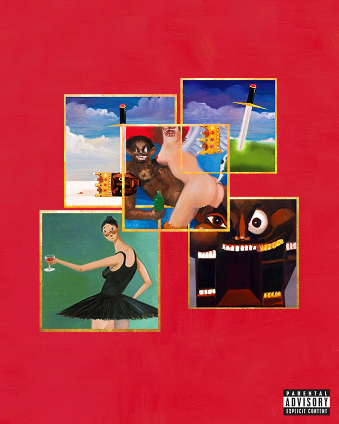 Kanye West My Beautiful Dark Twisted Fantasy Covers Combined In 2020 Beautiful Dark Twisted Fantasy Dark And Twisted Cover Art