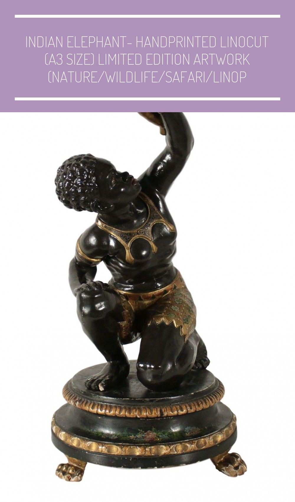 Antiquitäten Wood Statue 'Moretto' Golden Metal Italy