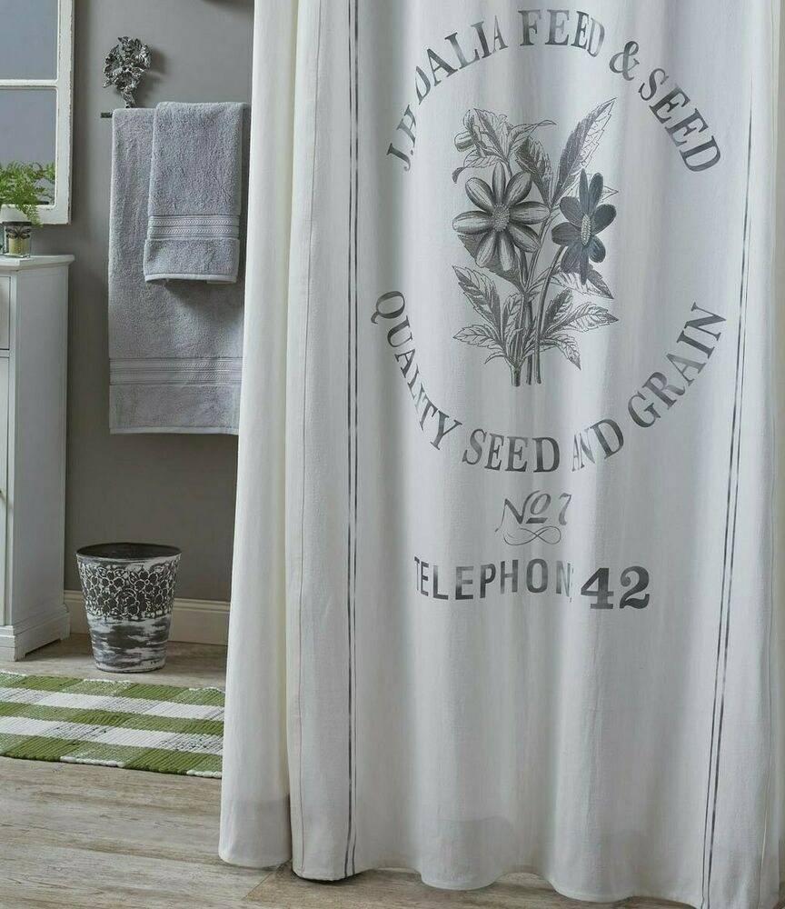 Details About Seed Sack Shower Curtain Cotton Farmhouse Rustic