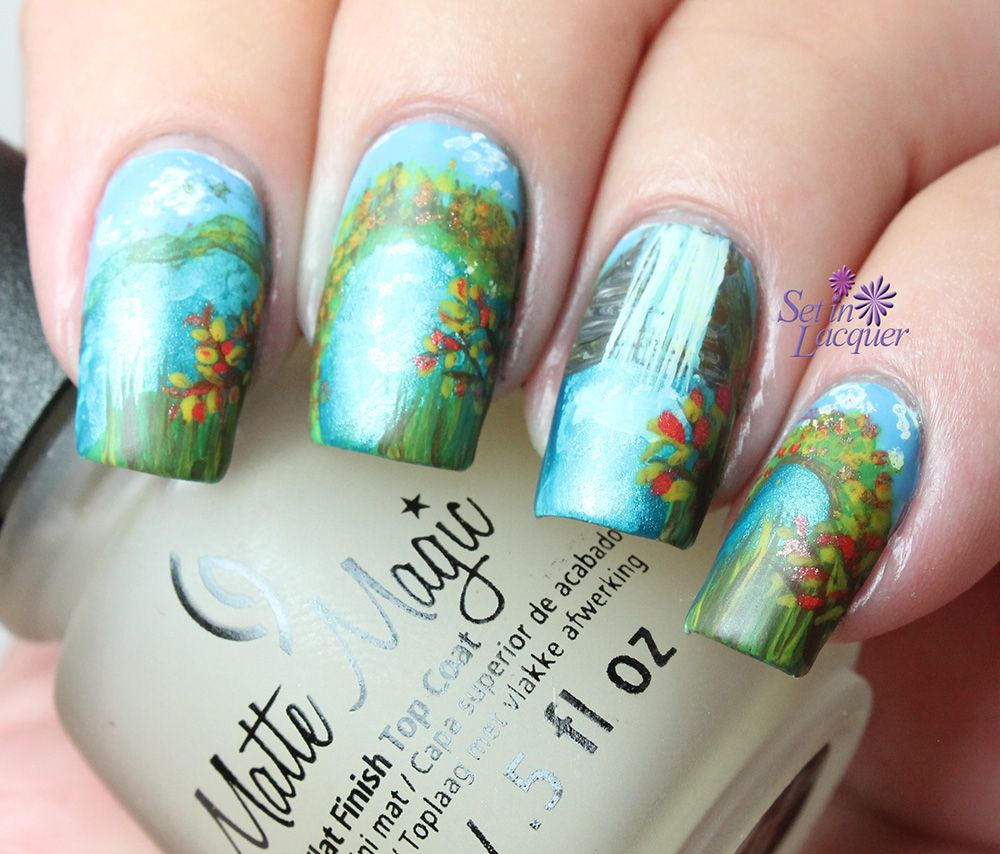 Fall landscape scene nail art | landscape nails | Pinterest