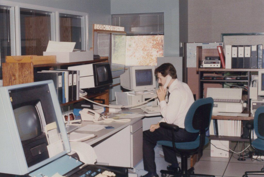 #1980s office.   Retro office, Office chair, Office