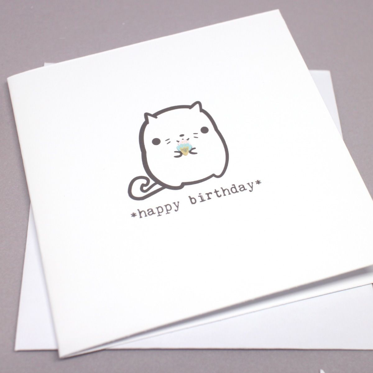A little cat says happy birthday this mini square greeting card a little cat says happy birthday this mini square greeting card is blank inside kristyandbryce Images