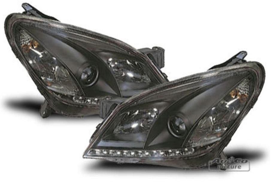 led headlights for opel astra h in black with led daytime running