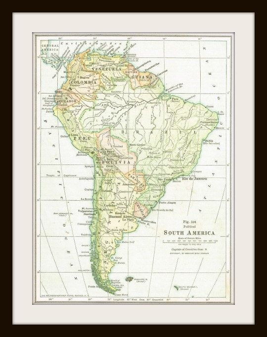 1925 SOUTH AMERICA Antique Map Buy 3 Maps Get 1 FREE Sud