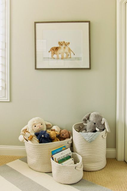 ~stuffed animal u0026 book storage idea~ The Honeybee Neutral Nursery & You are never too young to live in style. Shop Kids Furniture ...