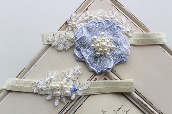 Something Blue Garter ,Bridal Garter , Wedding Garter, Lace garter , Vintage style Garter,  Flower Garter , Stretch Lace Garter Set