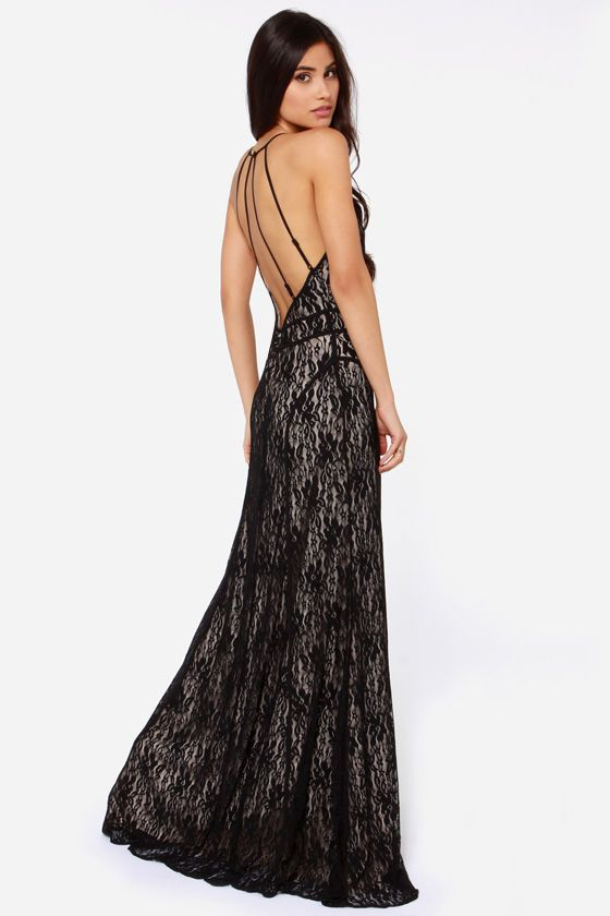 Another Late Night Backless Black Lace Maxi Dress  Lace maxi ...