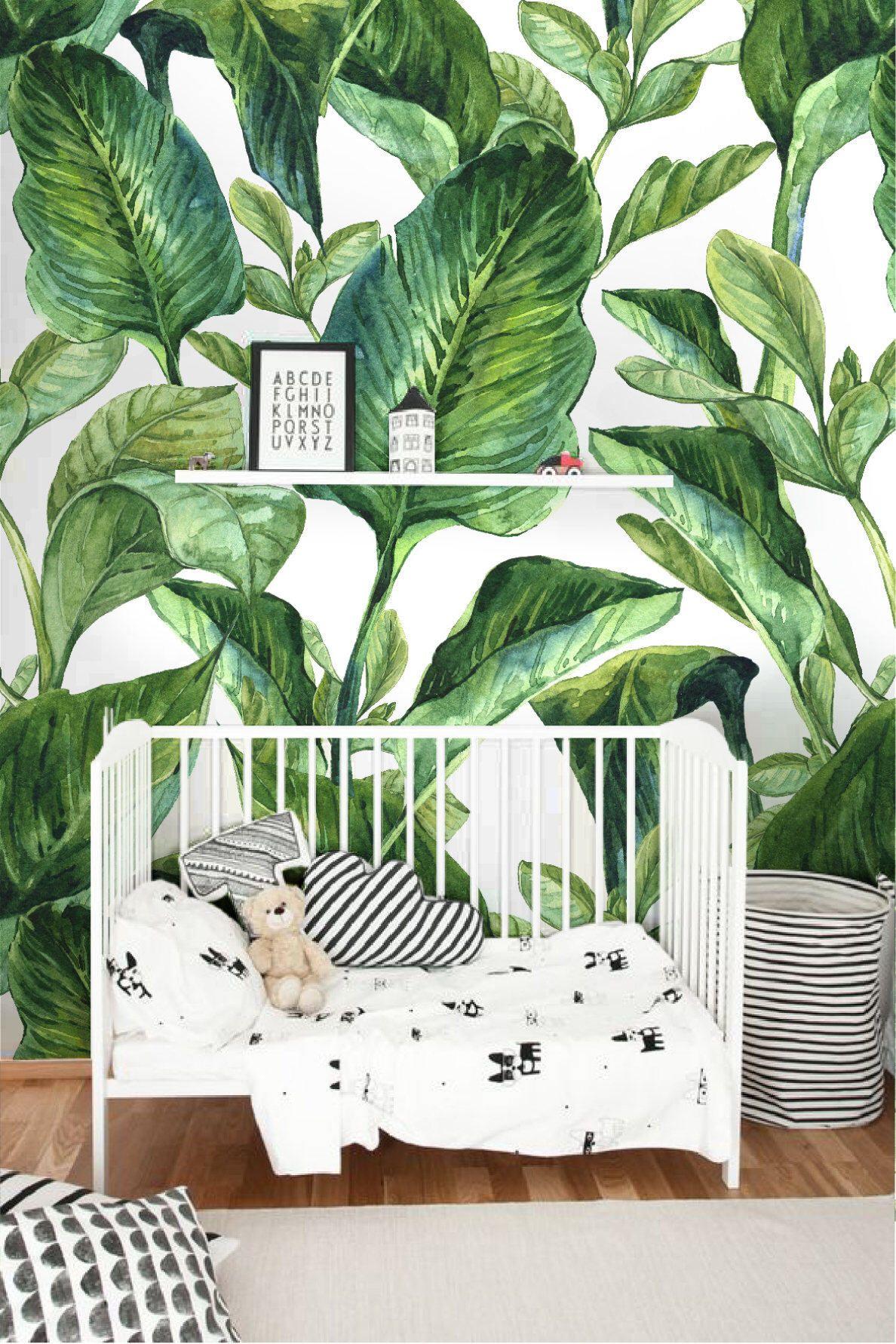 Removable Wallpaper With Banana Leaf Print Banana Leaves Peel Etsy Nursery Wallpaper Tropical Nursery Leaf Wallpaper