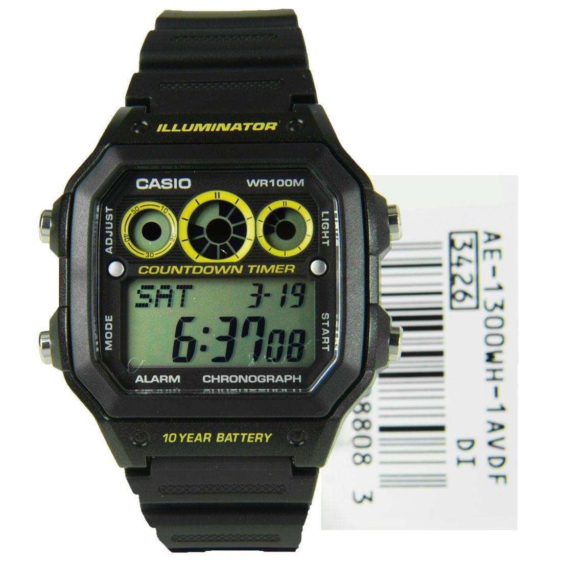 Casio Collection Black And Yellow Illuminator Chronograph Resin Watch Ae 1300wh 1a Ae 1300wh Casio Black N Yellow Illuminator