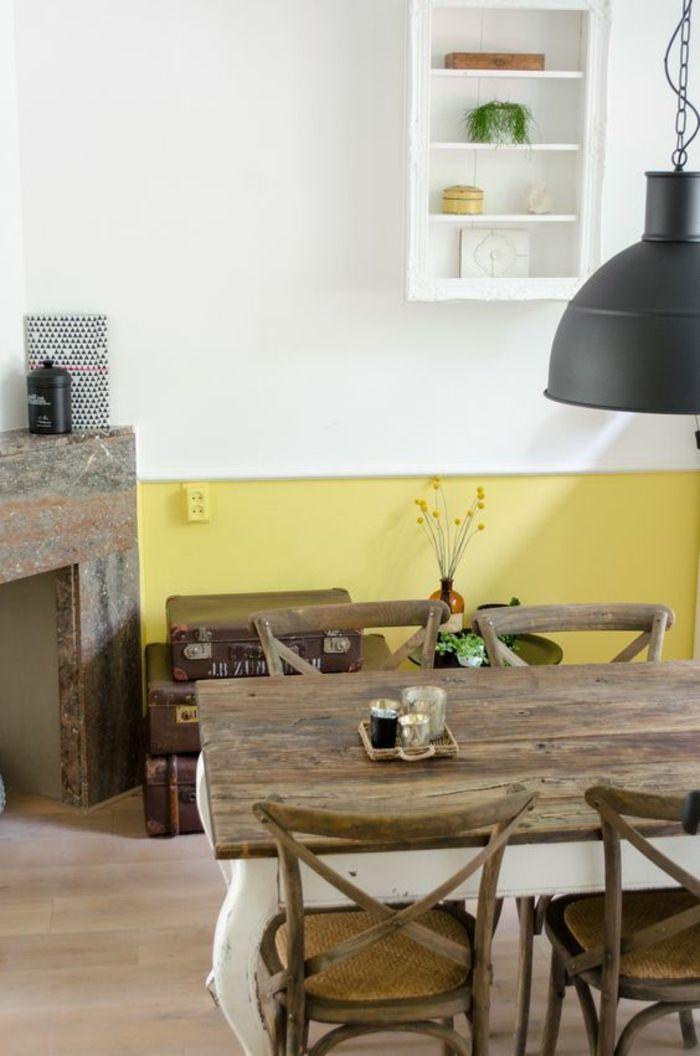 Idées Déco Pour Illuminer Lintérieur Avec La Couleur - Table salle a manger bois rustique pour idees de deco de cuisine