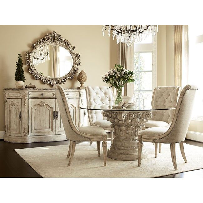Jessica McClintock The Boutique Round Dining Room Set (White Veil