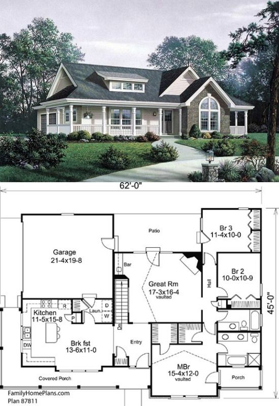 Ranch Style House Plan 87811 With 3 Bed 2 Bath 2 Car Garage Ranch Style House Plans Ranch Style Homes Ranch House Plan